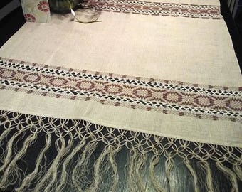 Handmade Linen Tablecloth. Handwoven tablecloth. Macrame Fringes.  Swedish vintage 1960s.