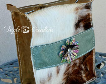 Cowhide and Leather Large Cosmetic Bag