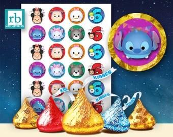 Hershey Kiss Sticker Files, Tsum Tsum Party, Tsum Tsum Stickers, Tsum Birthday Party, Tsum Tsum Party Supplies - Avery label digital file