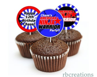 Ninja Warrior Party Cupcake Toppers, Ninja Warrior Birthday Party, ANW Party - Digital Printables
