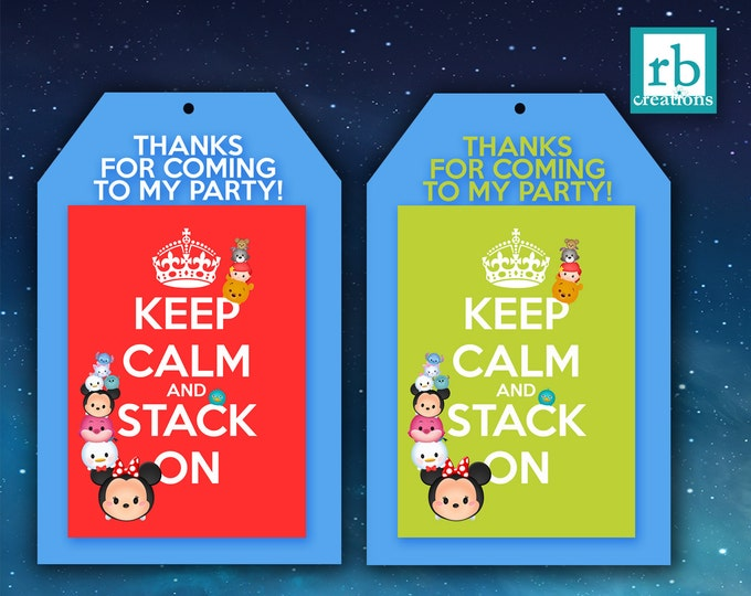 Tsum Tsum Favor Tags, Tsum Tsum Party, Keep Calm Favor Tags, Tsum Tsum Birthday, Tsum Tsum Birthday Party, Tsum Favors - Digital Printables