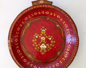 Wooden Vintage  Red Tray With Floral Pattern