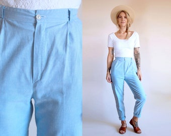 Vintage Trousers Light Wash Chambray High Waist Pants