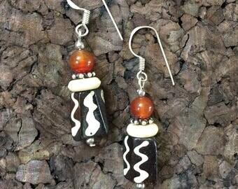 Afrocentric Jewelry - Carnelian & Bone Earrings