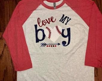 Love My Boy Baseball raglan