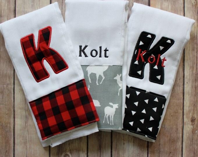 Baby Boy Woodland Burp Cloth Set, Monogrammed Baby Boy Buffalo Plaid Burp Cloth, Personalized Baby Boy, Lumberjack Red Black Plaid Baby Gift