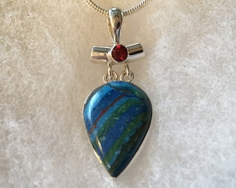 Rainbow Calcedony Gemstone Pendant Necklace in Sterling Silver Setting