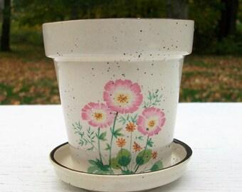 Vintage Small Pottery Flower Pot Flowers Japan