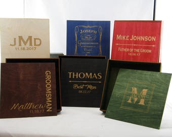 Groomsmen Cigar Box Gift Set of 6 Rustic Men's Personalized Cigar Box, Custom Engraved Bridal Party Favors, Stained Best Man Gift ,Gift Box