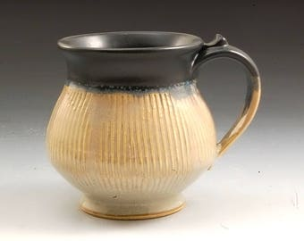 Handmade Pottery Mug Black and Tan Stoneware by Mark Hudak