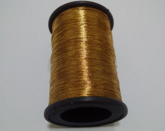Old Gold - 40 gms Spool of  Metallic Thread / Yarn - For Crochet Sewing Embroidery Artwork Knitting DIY