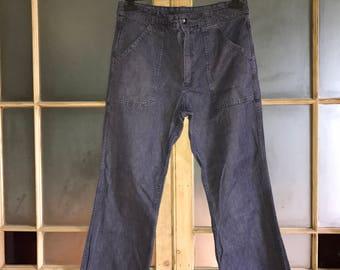 "Vintage high waist jeans 1970s 34"" waist"