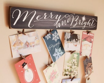 Merry & Bright Merry Mail - Christmas Card Holder - Christmas Card Hanger - Christmas Cards - Merry and Bright - Greeting Card Holder
