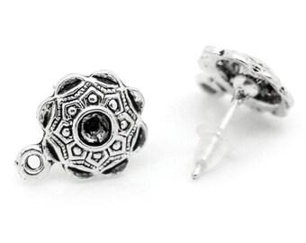 Flower  Ear Post Stud Earrings Findings Antique Silver With Loop Minimalist findings  2 pairs