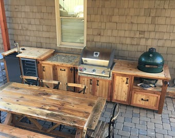 Outdoor Kitchen with Matching Grill Cabinet, Beverage Bar, & Farm Table - Choose just the Grill Table, Beer Bar or All 3 Pieces