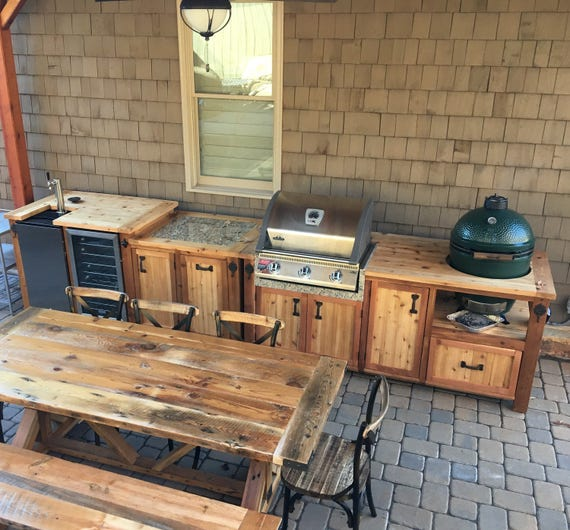 Green Eggs Cafe Kitchen Sink: Outdoor Kitchen With Matching Grill Cabinet Beverage Bar