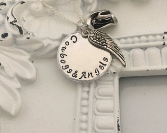 Cowboys and Angels Hand Stamped necklace