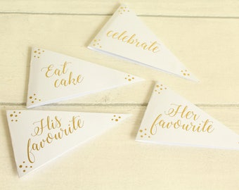 Pack of Wedding Pendant Flags for Dessert Table Decor/ Cake Toppers, Confetti Design in Gold/Silver/Rose Gold/Champagne Gold/Colour Foils