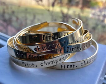 Stamped brass bracelet, personalized brass jewelry, bridesmaid gifts, bulk orders, wedding gift, gold tone bracelet, engraved bracelet