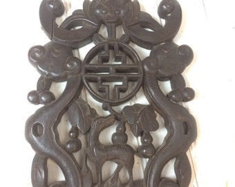 Vintage carved decorative wood wall decor Asian 030