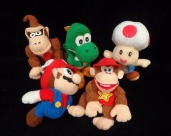 Nintendo 64 Beanbag Characters- 1997 Mario, Donkey Kong, Toadstool, Diddy Kong, Yoshi - no tags