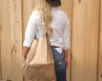 Western Tote Bag,Western Purse,Western Bucket Purse, Old West purse, Fringed Leather purse