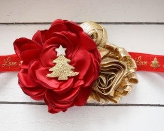 Handcrafted Red and Gold Christmas Headband - Christmas Tree Bow - Holiday Headband - Glitter Baby Girl Christmas Headband - Infant Headband