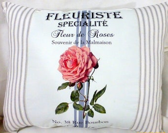 Paris rose pillow - Vintage French Ad Pillow - Rose pillows - Decorative Throw Pillow - French Ticking Pillow - French country decor