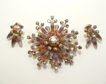 Gorgeous Vintage AB Rhinestone & Glass Sabrina Stones Brooch and Clip Earrings