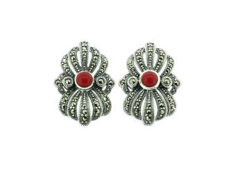 Coral Earrings, Marcasite Earrings, Stud Earrings