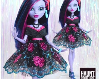 """Monster Doll Haunt Couture: """"Midnight Jungle"""" high fashion dress clothes"""