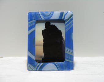 Shades of Blue with White 5X7 Fused Glass Frame