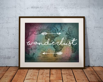 Wanderlust Print - Wall Art, Colorful World Map, Printable, INSTANT DOWNLOAD, Travel Adventure Decor