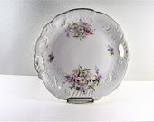 Purple Flower Cake Plate Porcelain Double Handled