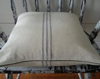 Pillow Cover/Cream Grain Sack Fabric/Blue Stripe/Zipper Closure