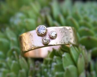 Diamond Ring - 14k Gold RingThree Stone Champagne Diamond Band - Wedding Anniversary