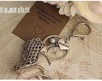 Sale - Bridesmaid Gift Bridesmaid Keychain, High Heel Shoes Keychain Bag dangle Purse Jewelry