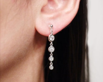 Silver Cubic Chain Clip On Earrings, Invisible Clip On Earrings, Non pierced Earrings