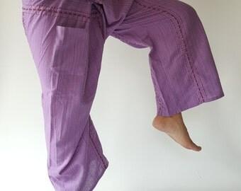 TC8019 Handmade Thai Fisherman Pants Wide Leg pants, Wrap pants, Unisex pants