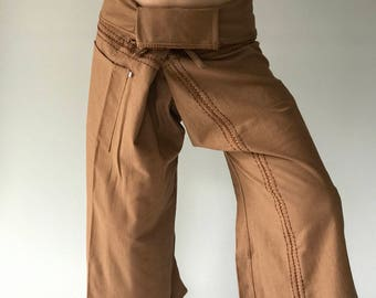 FZ0034 Hand Sewing Inseam design for Thai Fisherman Pants Wide Leg pants, Wrap pants, Unisex pants