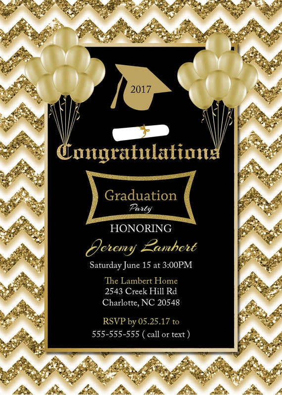 Graduation invitation black and gold glitter invitations class of il570xn filmwisefo