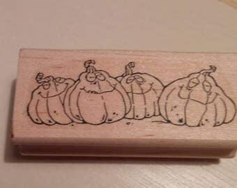 Retired Rubber Stamp Art     -   Smiling Pumpkins (Halloween)