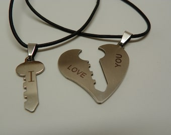 Key and Heart metal necklace set (S5)