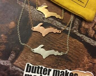 Upper Peninsula Michigan Necklace [free necklace bag] Yooper Necklace