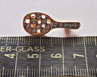 Antique Rhinestone Mirror / Tennis Racket Pin