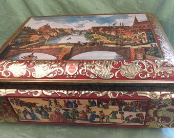 Very large Schmidt biscuit tin container / German embossed huge rectangular tin / tin storage