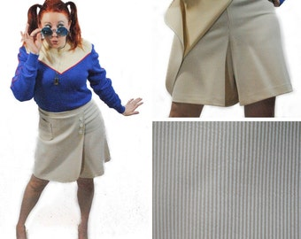 Mod Striped Skort in Tan and White