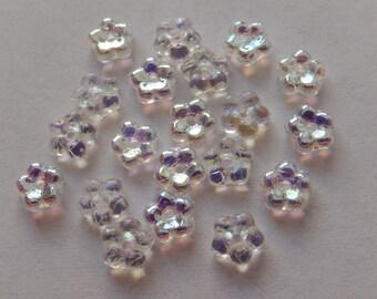 20  Crystal Clear AB Flower Czech Glass Beads  5.5mm