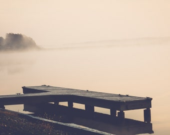 lake house decor, rustic photography, foggy lake, lake photography, dock photo, calming art, large wall art, rustic decor, nature print