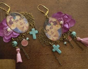 Earrings Frida Kahlo - earrings Bohemian hippie chic - folk earrings - day of the dead - Mexico